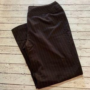 Worthington Wide Leg Pinstripe Pants 12p Brown